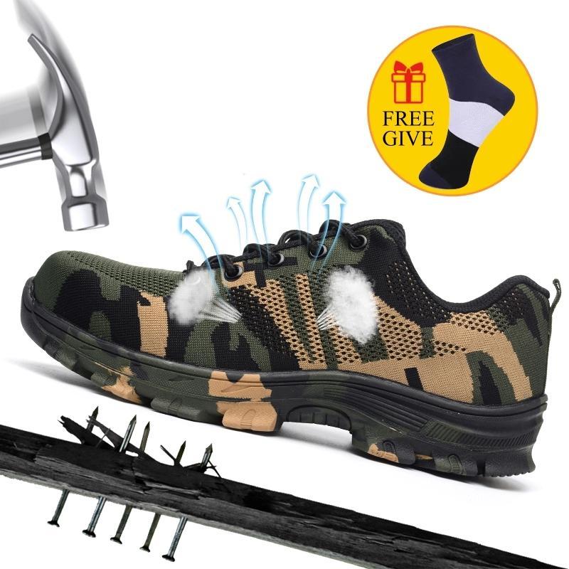 XZMDH Dropshipping Männer und Frauen Stahlzehe Sicherheitsstiefel Outdoor Schuhe atmungsaktiv Sicherheit für Männer pannensicher Arbeiter Turnschuhe