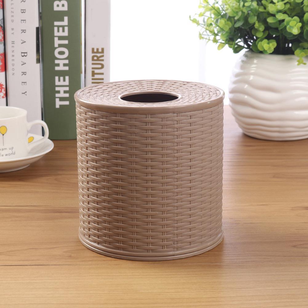 Caja del tejido del hogar del regalo decorativo Ronda de contenedores a prueba de polvo de la servilleta de almacenamiento de titular de papel higiénico Habitación Hotel cuarto de baño salón