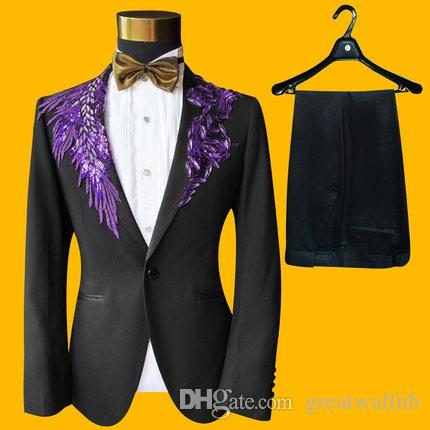 Free ship mens black with 4 color sequin flower choice stars/evening event suit/stage performance/wedding suit jacket with pants and bowtie