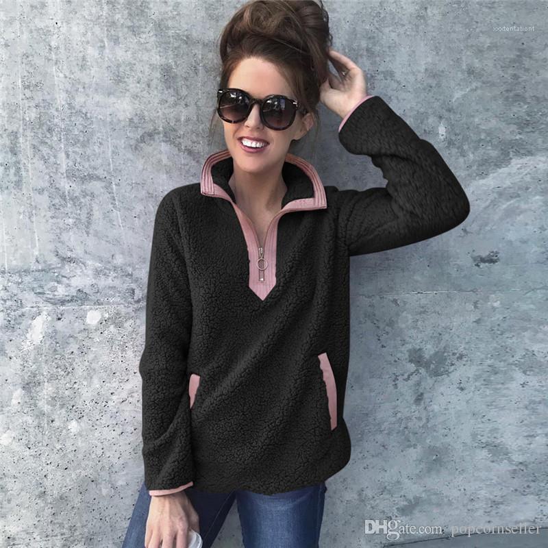 Pull Style Hot Contrast Pocket chaud en peluche Veste décontractée en vrac Pull Zipper à capuche Lapel Vêtements pour femmes Mode femmes Designer