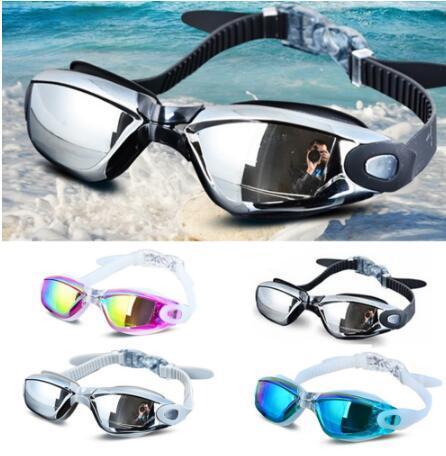 Galvanoplastia UV Waterproof Anti nevoeiro Swimwear Eyewear Swim Mergulho Água Óculos ajustável Óculos de Natação Mulheres Homens