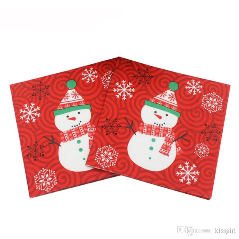 20pcs/pack Printing Napkins 2019 Creative Snowman Beautiful Xmas Napkins Christmas Napkins for Home Store Party