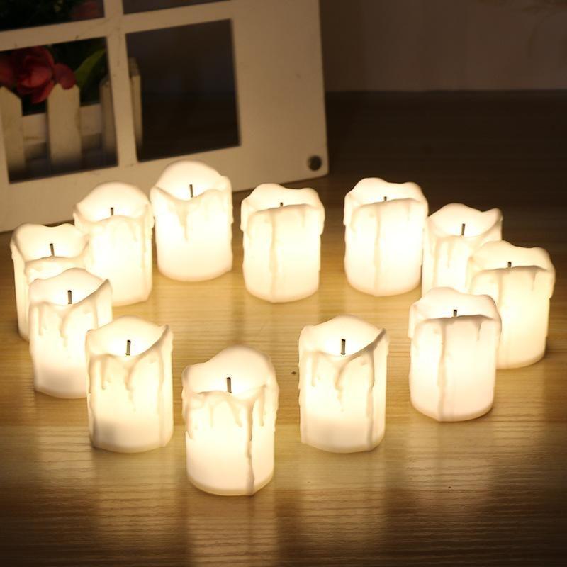12шт / набор Хэллоуин светодиодные свечи беспламенного Таймер свечи Чайные свечи от батареи Электрические огни Мерцающий Tealight для свадьбы День рождения