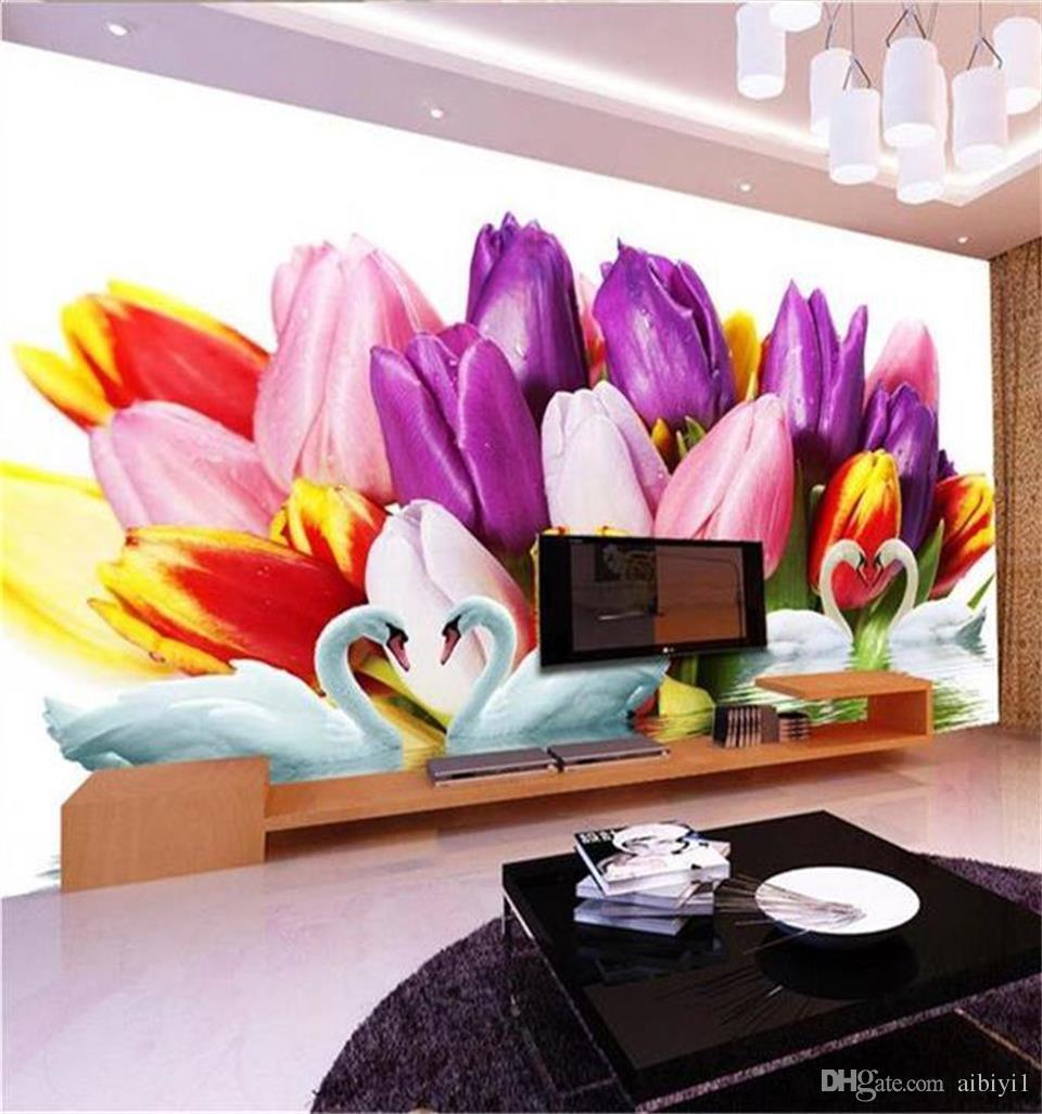 Нестандартный размер 3d фото обои гостиной росписи Мода Цветок Лебединое Озеро 3d картина диван ТВ фон обои нетканые наклейки