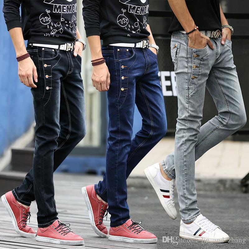 Jeans Men new Fashion Korean Style High Street Slim Fit Button Personality Vintage Classical Denim Pants Plus Size Trousers