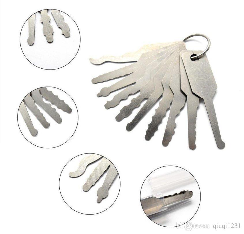Jiggler ключей 10 шт набор консервооткрывателя двери полнофункциональная отмычку, чтобы открыть замок двери