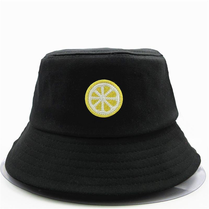 2020 nouveau style citron fruits broderie Seau Chapeau pêcheur Chapeau En Plein Air Voyage Sun Cap Chapeaux Pour hommes et femmes 276