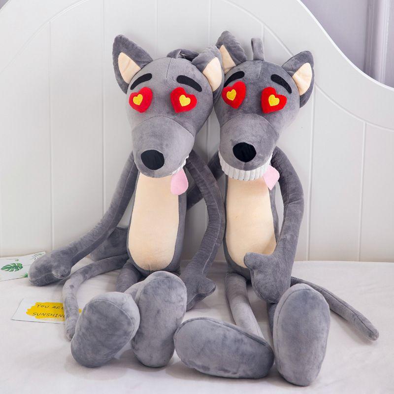 65cm Lobo lindo del corazón de la felpa de los ojos almohadilla de la historieta Juguete relleno muñeca suave animal encantador felpa para los niños de Kawaii de San Valentín regalo de cumpleaños