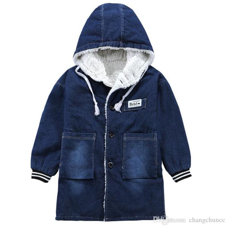 Veste garçon hiver coupe-vent enfants de velours épais denim veste en duvet pour les enfants au chaud à capuchon vêtements garçons