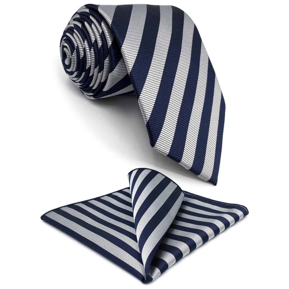 G09 회색 파란색 스트라이프 맨 넥타이 세트 실크 클래식 패션 넥타이 남자 선물 패션 Hanky 여분의 긴 크기