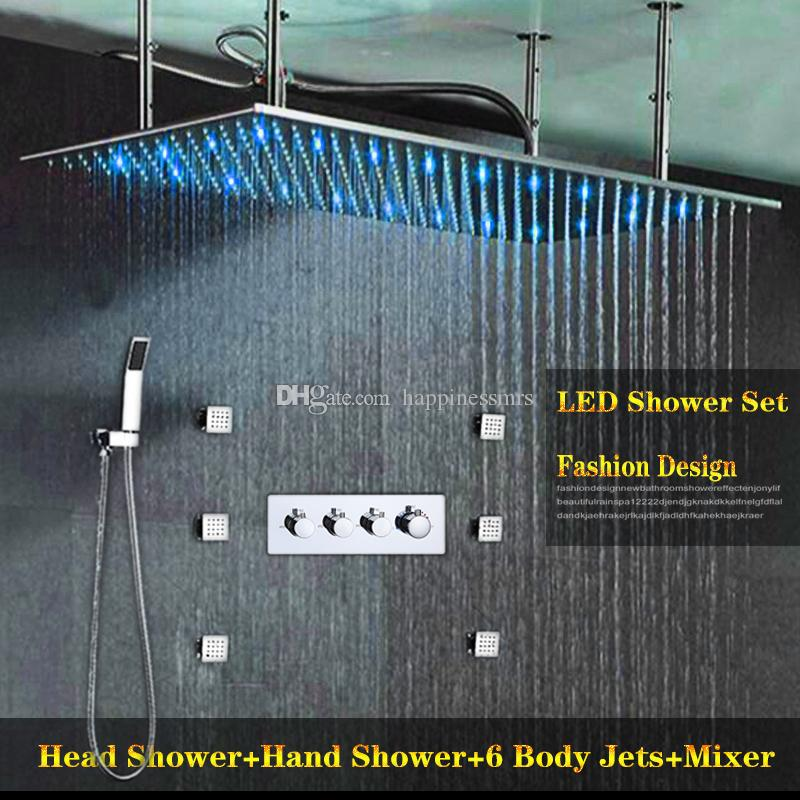 bathroom accessories rainfall 50x100CM large shower head set Polished 3 function hot cold Mixer Faucet Shower kit with 6 pcs spa jets