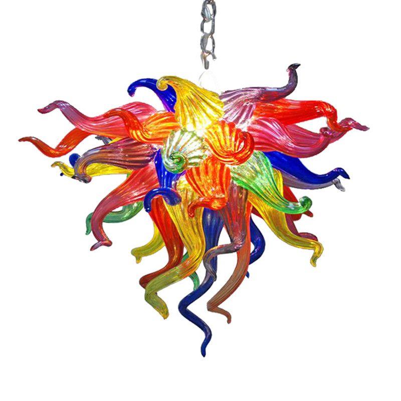 램프 샹들리에 펜던트 빛 100 % 입 날아 유리 체인 펜던트 빛 20 인치 무지개 집 장식을위한 다채로운 크리스탈 조명