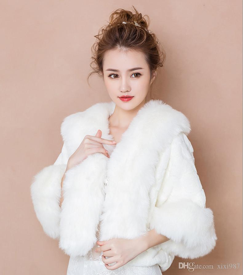 New Faux Fur Bridal Shrug Wrap Cape Stole Shawl Bolero Jacket Coat Perfect For Winter Wedding Bride Bridesmaid Free Shipping Real Image