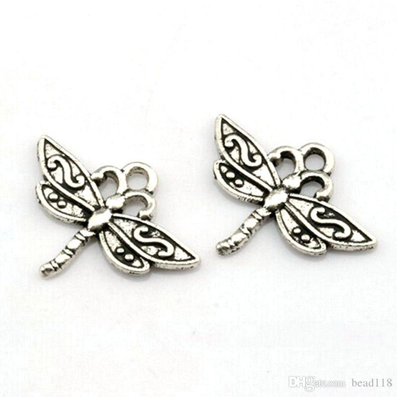 Dragonfly Charms Pendants alloy Jewelry DIY Fit Bracelets Necklace Earrings 150Pcs/lot Antique silver 15 x 23mm