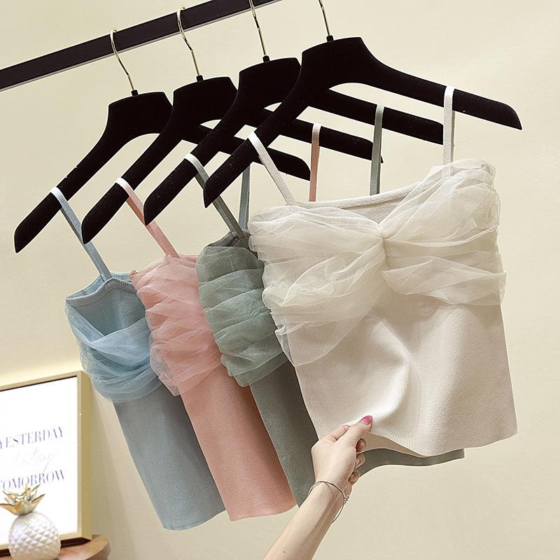 Summer Women Knitted Camis Short Tops Solid Color Mesh Sleeveless Shirts Female Stretchy Camisoles Tanks Tops for Women