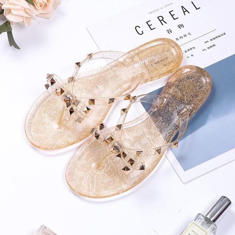 Hot 2020 Woman Rivet Slippers Summer Ladies Slides Fashion Flip Flops Flats Female Cool Beach Rivets Big Bow Flat Jelly Shoes Sandals Girls