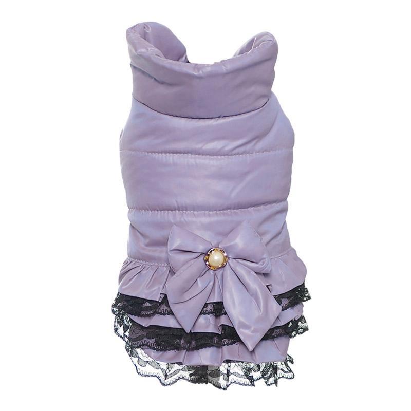 Caliente dulce perro vestido de ropa de invierno Sweety Bowknot mascotas princesa vestidos de perrito gatos de peluche vestido de ropa para mascotas