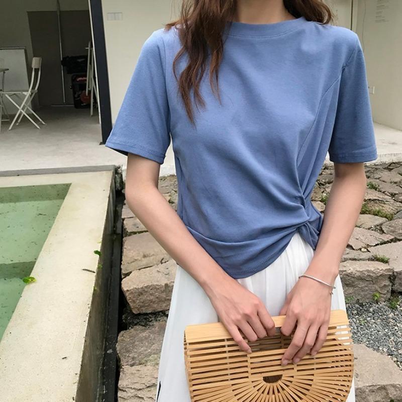 2020 Летний Новый с короткими рукавами Лук Дизайн Корейский Стиль T-рубашка хлопок шею женщин Дикого футболку
