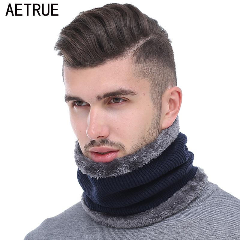 AETRUE Inverno Uomo Sciarpa Anello Sciarpe lavorate a maglia per uomo Donna Collo Snood Ordito Colletto di lana addensato Sciarpe morbide calde Moda 2018 D19011003