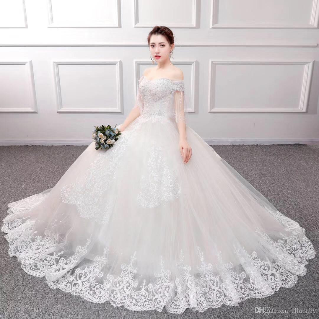 The Most Elegant Wedding Dresses 2019 Off Shoulder Princess Bridal Gowns  Full Length Fashion Bridal Dresses On Sale Wedding Designer Dress Wedding