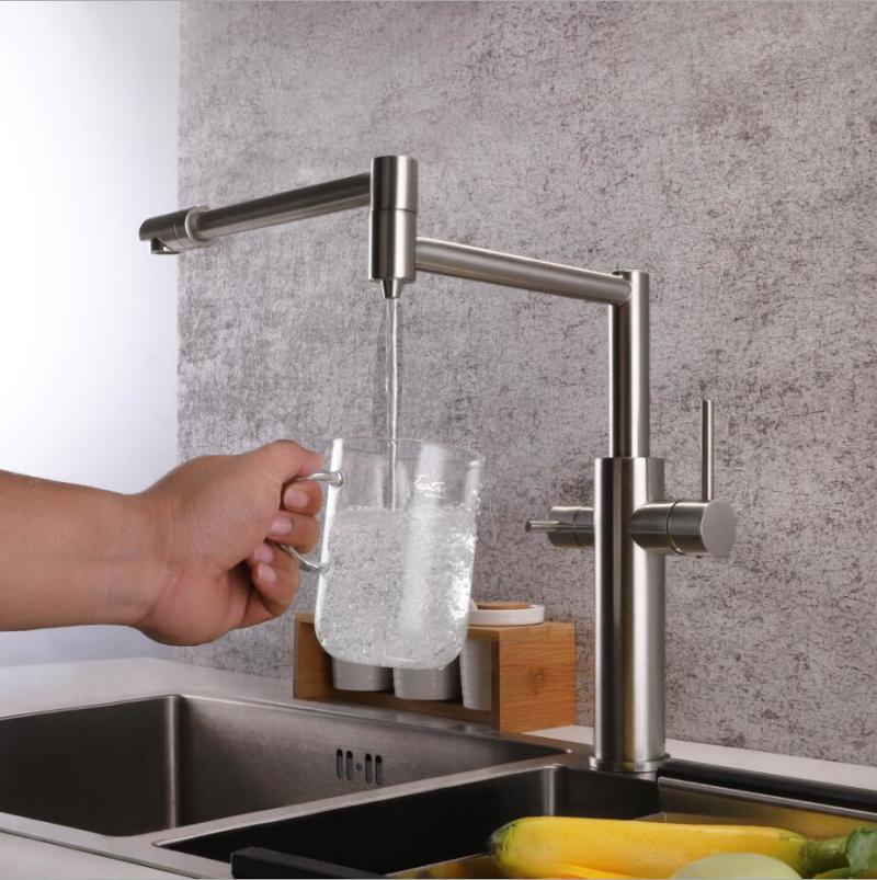 2019 Brushed Nickel Kitchen Sink Faucet Swivel Spout Kitchen Sink Tap Deck  Mounted Single Handle Hot And Cold Water Mixer From Happinessmrs, $128.65 |  ...