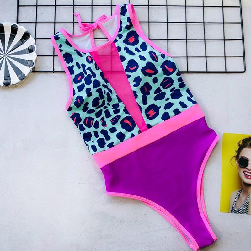Impresión atractiva del leopardo del acoplamiento una pieza de baño de las mujeres empujan hacia arriba el bañador 2019 Nueva cuello alto traje de baño femenino V profundo desgaste Beach 5211