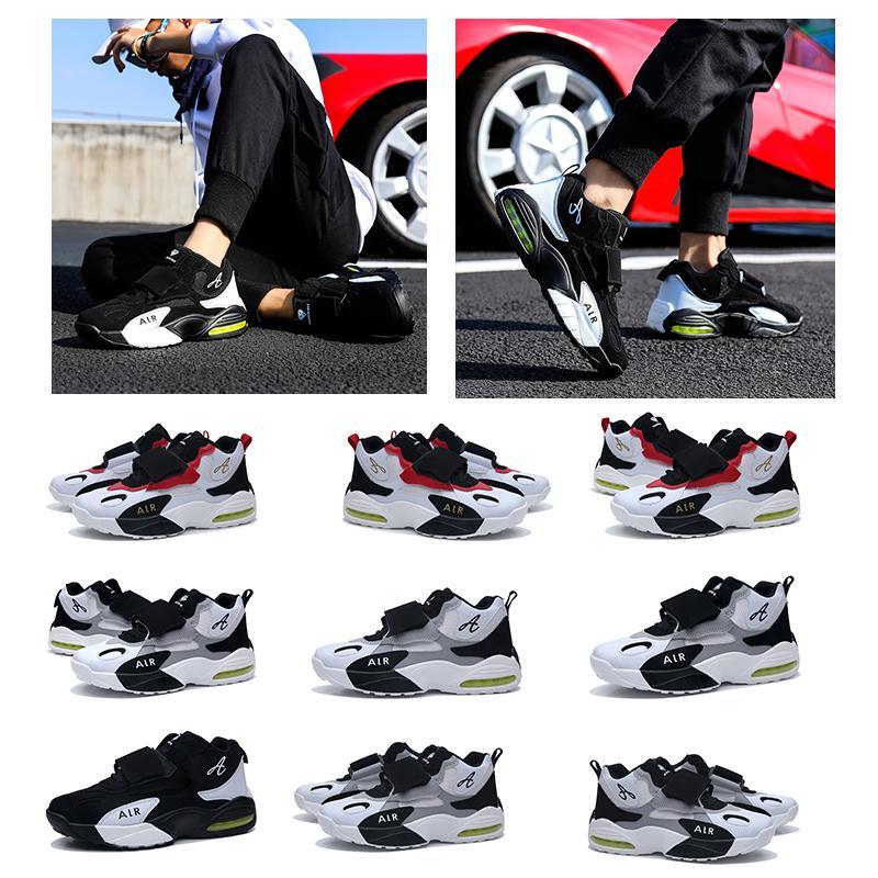mujeres de los hombres zapatos negro gris deporte diseñador entrenador cómodo estilo de velcro transpirable blanco rojo zapatillas de deporte 35-44 ejecutan