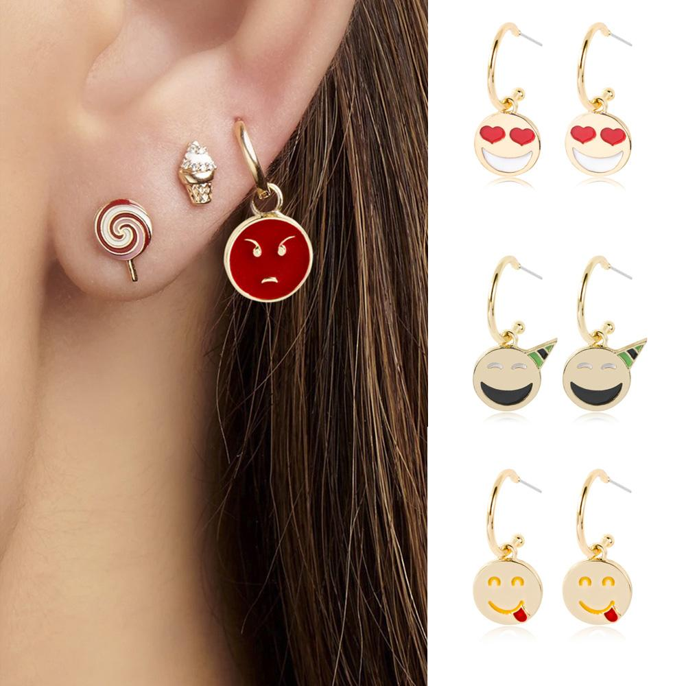 Isang 2020 Fashion Emoji Style Dangle Charms Earrings Gold Plated Hoop Earring Brand Jewelry Accessories For Girl Women