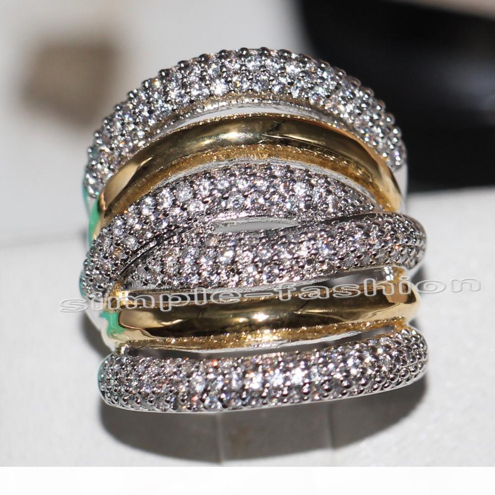 Bijoux à la mode classique de Gem 5A Zircon pierre jaune blanc 14 carats d'or rempli de fiançailles Bague de mariage Bague Sz 5-11