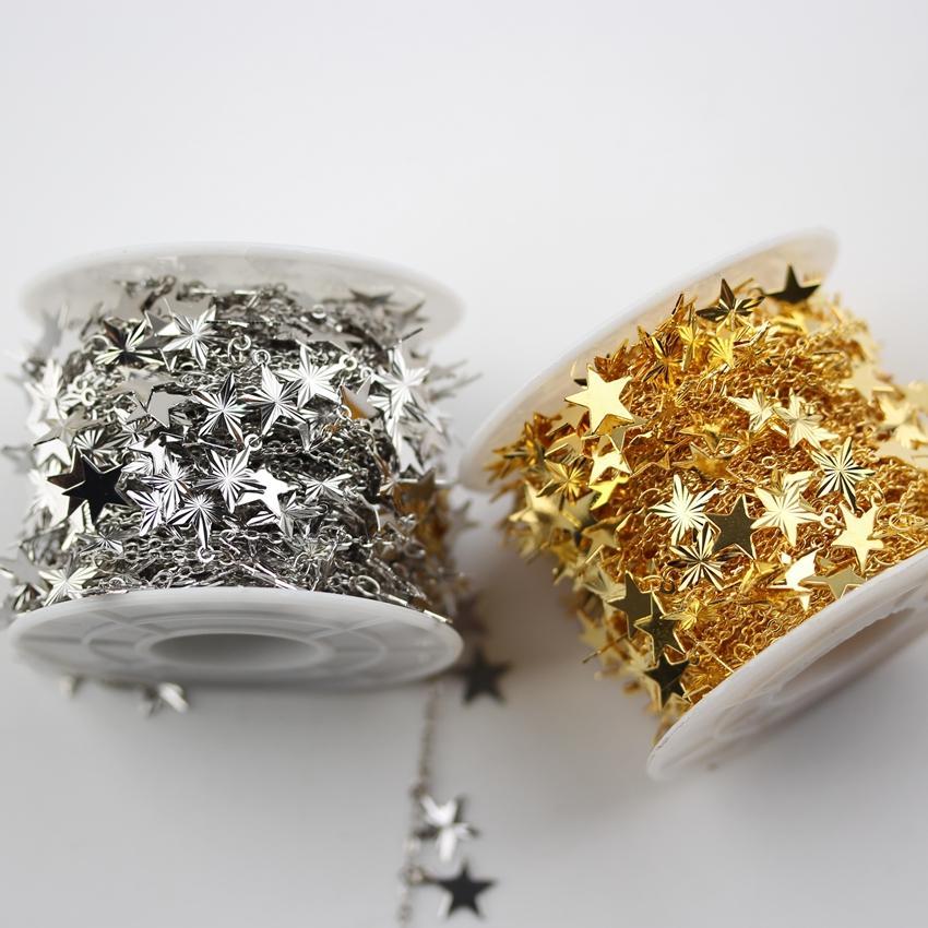 Hermosos tallados, cortes en forma de estrella, cadenas para brazalete, oro rosa / dorado / plata / pistola, collar de gargantillas de cobre plateado negro, 9 mm