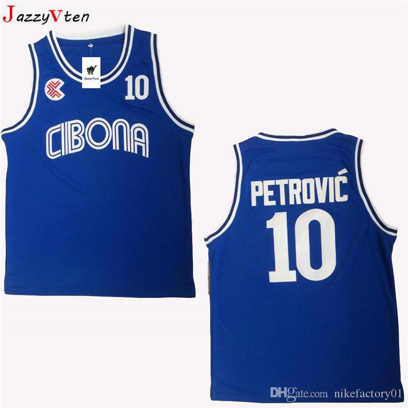 남자 던 뜨 크로아티아 # 10 Cibona Drazen Petrovic 농구 유니폼 싸구려 Drazen Petrovic # 4 Jugoslavija 유고 슬라비아 크로아티아 스티치 셔츠