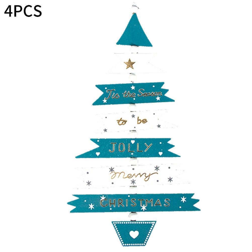4 pezzi Festival Festa di Natale del mestiere Trees Holiday appesi giocattolo regalo ornamento bambini giardino in legno pendente di colore pittura casa