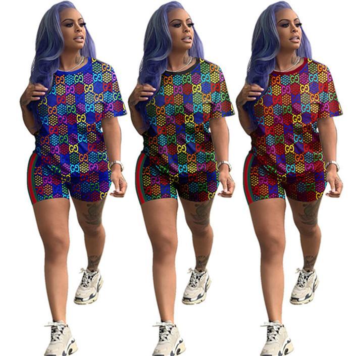 Tasarımcı eşofman kısa sleeve kıyafetler 2 parçalı set gömlek tozluk sıska gömlek pantolon spor takım elbise sıcak klw3436 clubwear spor giyim womens