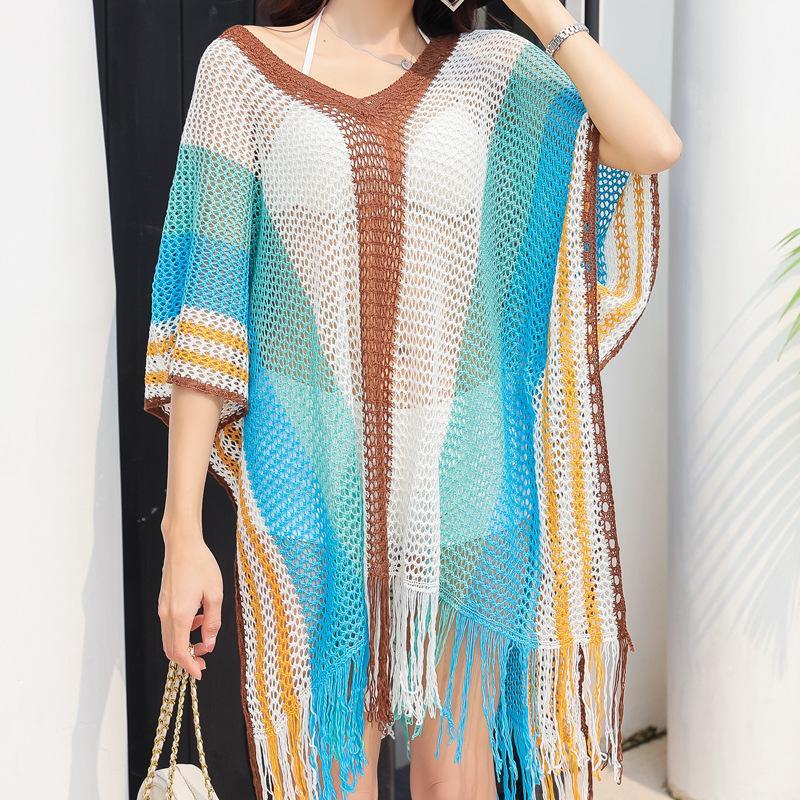 2020 جديد مثير بيكيني أنثى عطلة شال جوفاء ملابس التريكو بلوزة مهدب تنورة النساء ملابس السباحة للسيدات الرياضة سباحة