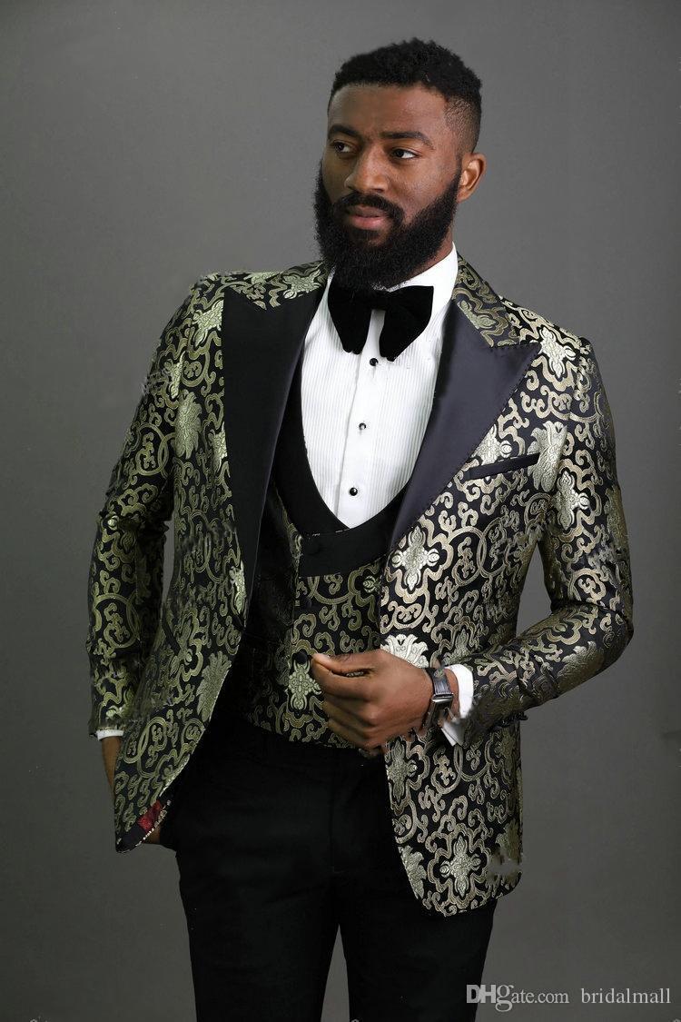 Novità del 2020 One Button Groomsmen picco risvolto nozze smoking dello sposo degli uomini vestiti di cerimonia nuziale / promenade / Cena Suit Best Man Blazer (Jacket + Vest + Pants)