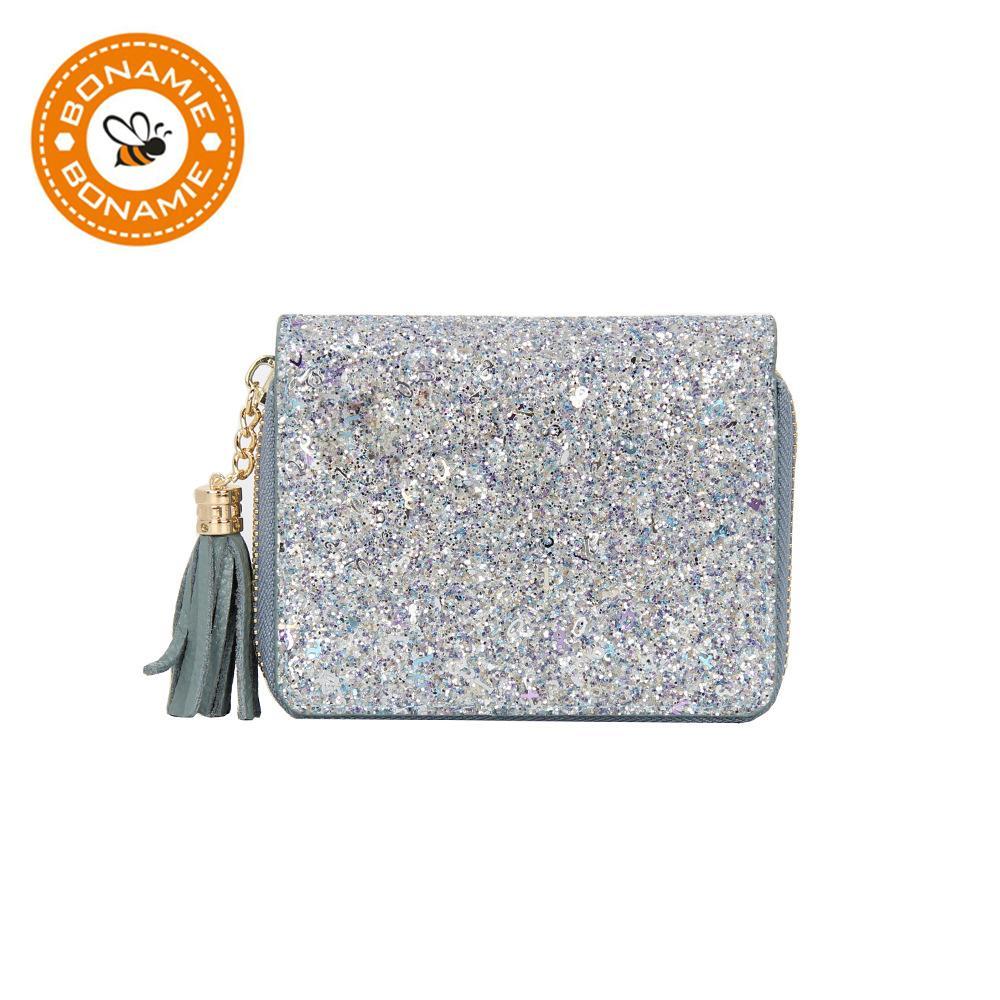 BONAMIE Frauen Wallet Glitter Pailletten Wallet Geldbeutel echtes Leder mit hoher Kapazität Karteninhaber Geldbörse Short NEU
