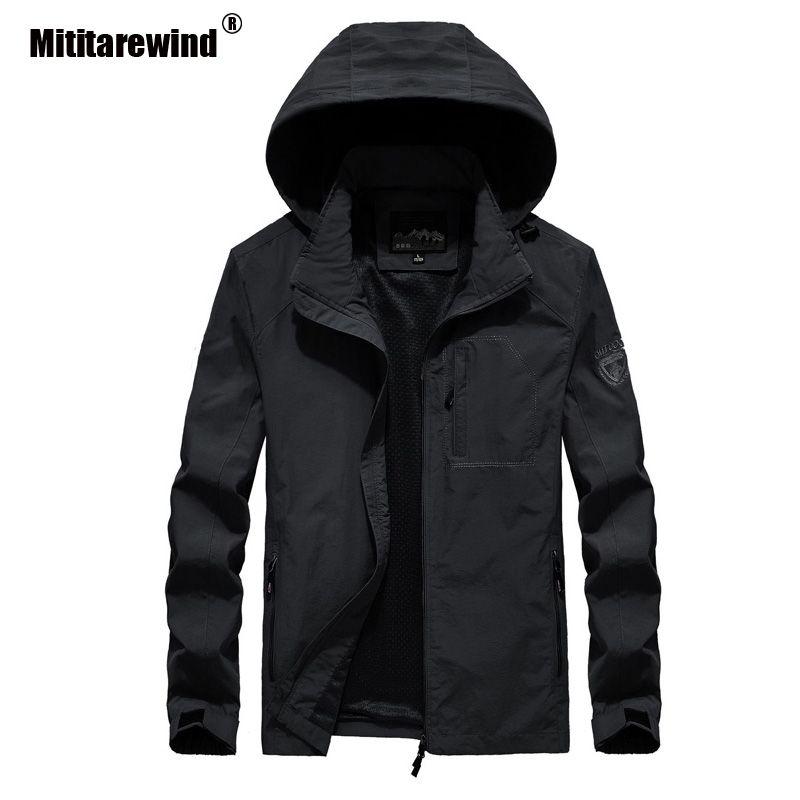 Chaqueta con capucha de los hombres de primavera informal capas de las chaquetas a prueba de agua de secado rápido al aire libre de la chaqueta de los hombres Ropa Senderismo