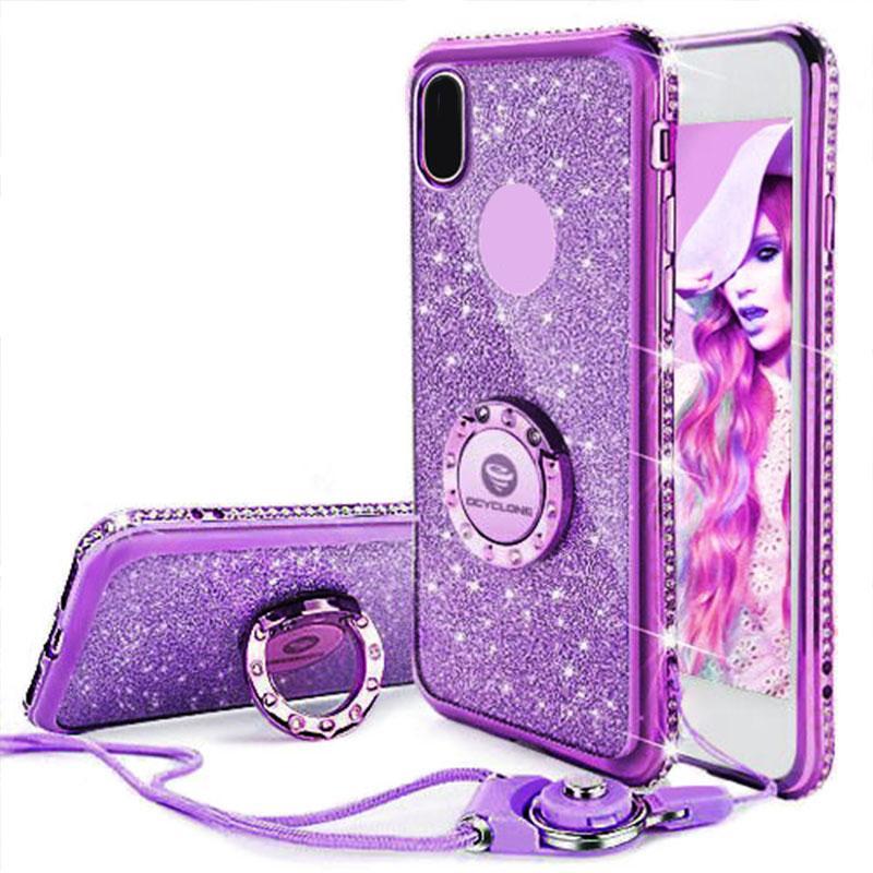 Für iphone 7 case ring lila bling abdeckung für iphone x 6 6s 7 plus diamant case i8 glitter abdeckung für iphone 8 plus case ring rot