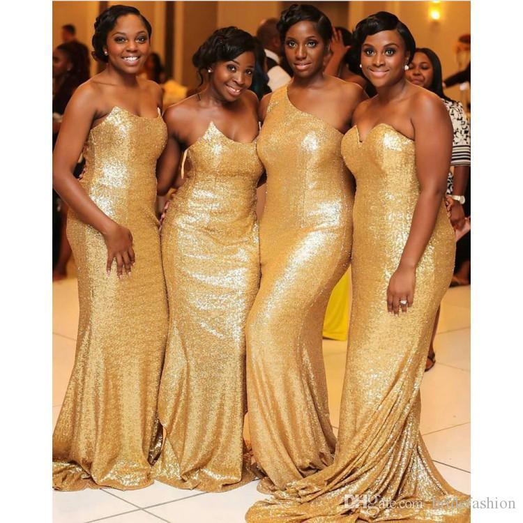 Nigeria africaine Or Paillettes sirène robes de demoiselle d'honneur Sexy une épaule chérie longue robe de soirée de clients Porter Cheap Custom Made
