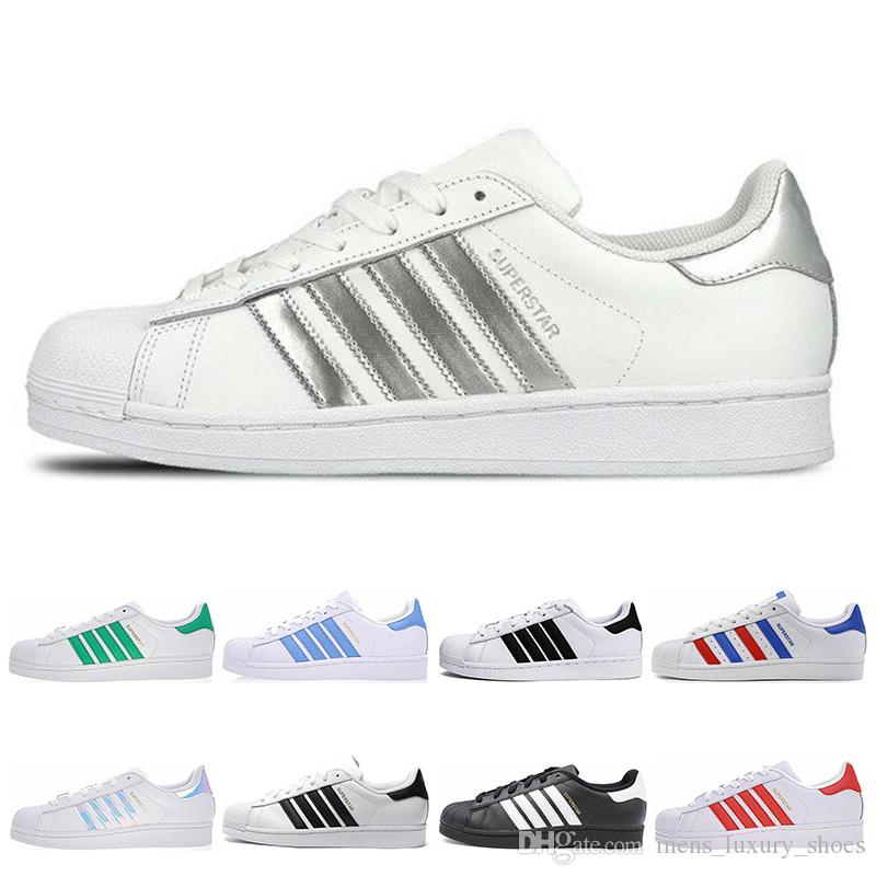 Classic Super Star White Hologram Iridescent Junior Men Superstars 80s sneakers Pride Womens Casual Shoes Superstar Mens Trainers size 36-45