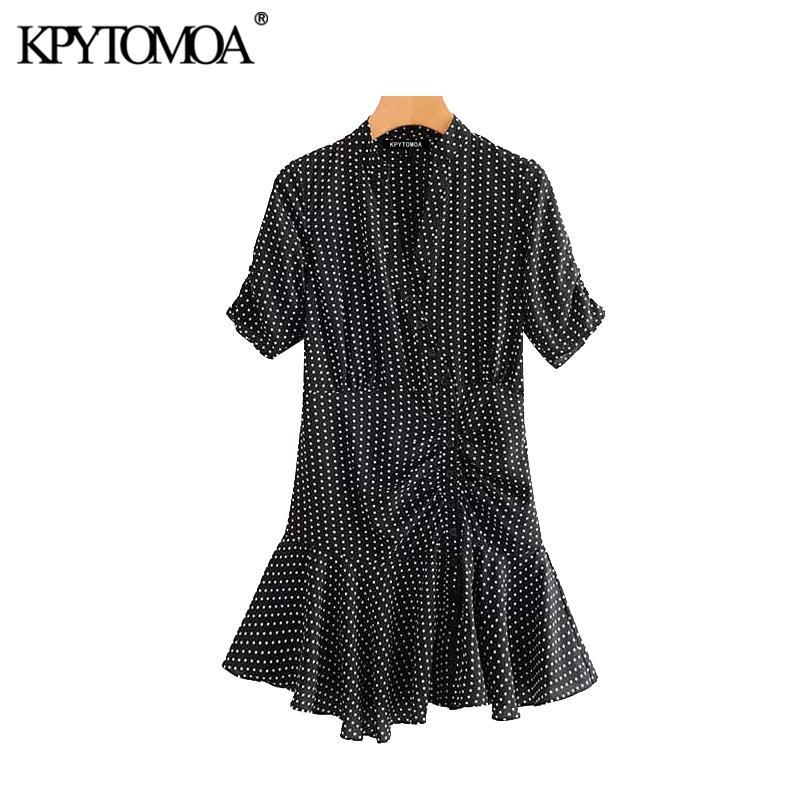 Robe vintage élégant pois Volants Mini 2020 Femmes Mode col V à manches courtes Femme Robes Chic Robes Mujer