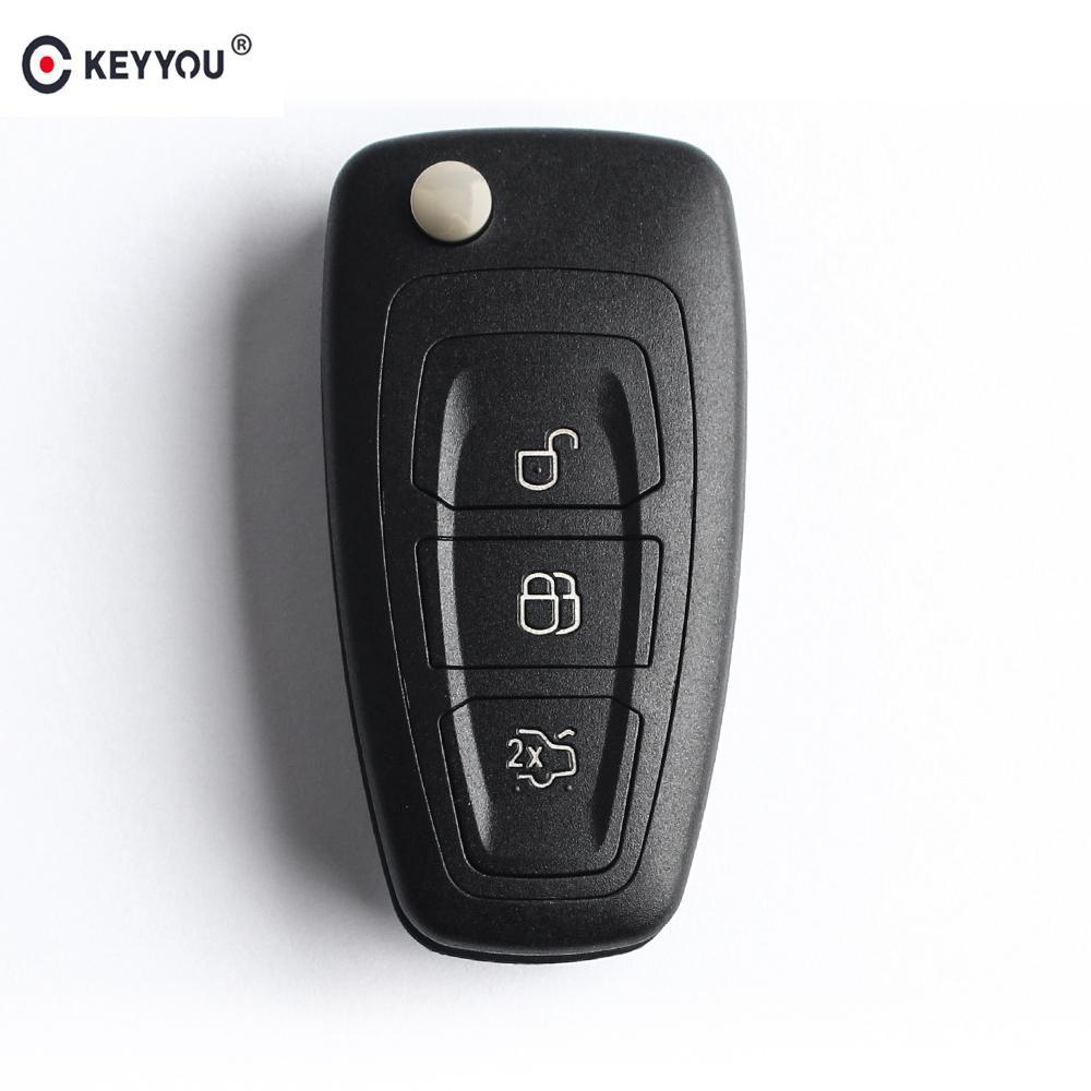KEYYOU 20X Flip Folding Remote Key Shell Car Key 3 Buttons For Focus Mondeo Fiesta 2013 Fob Auto Case HU101/FO21 Blade
