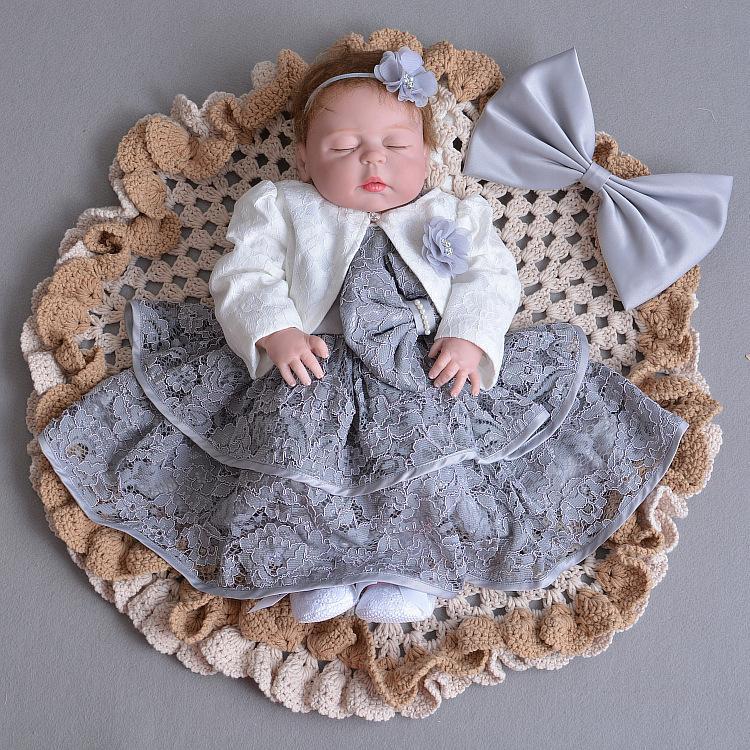 회색 아기 소녀 드레스 자켓 천사 1 년 된 생일 파티 12 개월 172021 유아 아기 여자 의복 Vestido 유아 아기 여자 옷 174021 Y19061001
