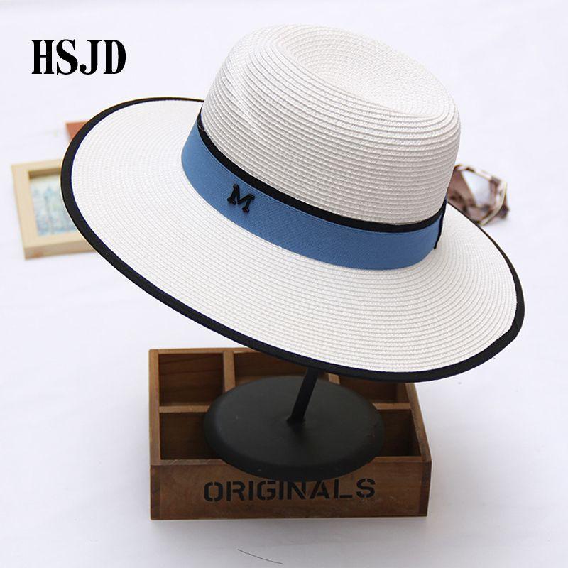 2018 새로운 여름 M 문자 여성 안티 UV 비치 모자 M 파나마 밀짚 페도라 여성의 여행 일 캡 대형 챙이 넓은 밀짚 모자