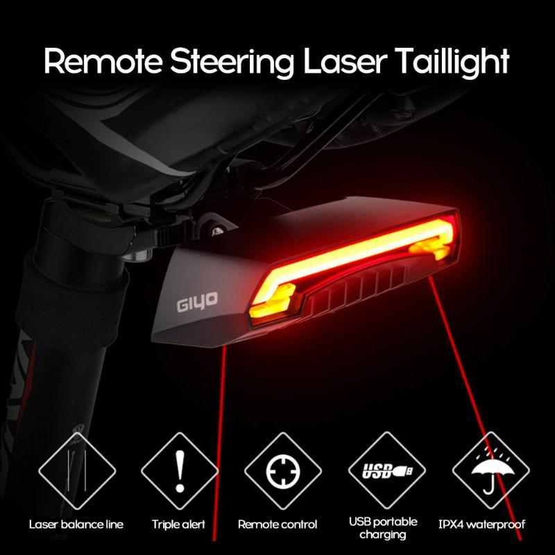 Las señales de giro LED recargable de ciclo luz trasera del montaje de la lámpara láser rojo de bicicletas Luz trasera USB linterna para la bicicleta Accesorios Luz