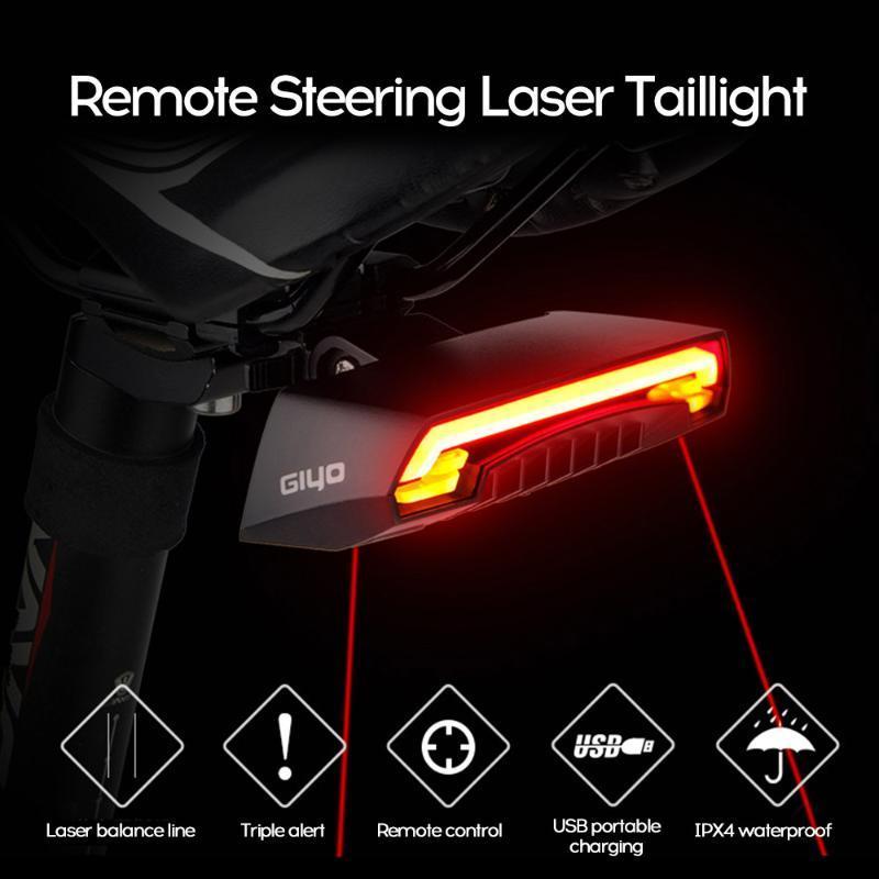 Laser bicicleta Taillight USB recarregável LED Ciclismo Luz traseira Lâmpada Mount Red sinais de volta Lanterna Para Bicicleta Luz Acessórios