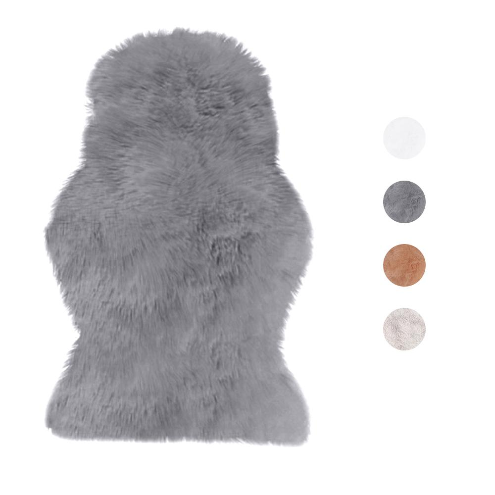 New Fur Artificial Sheepskin Hairy Carpet for Living Room Bedroom Rugs Skin Fur Plain Fluffy Area Rugs Washable Bedroom Faux Mat