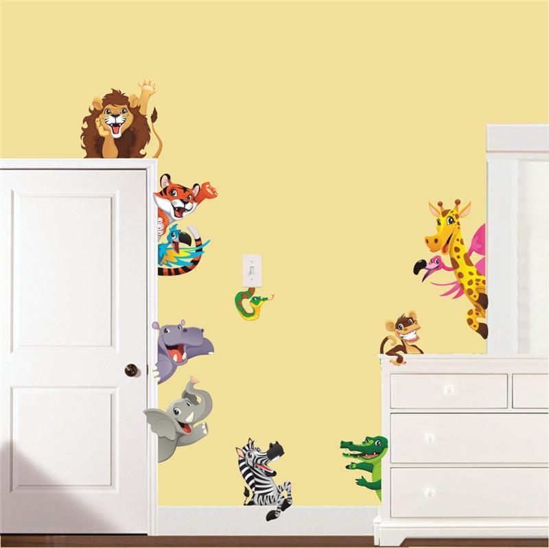 DIY 기린 사자 타이거 Elephont Rhinoceros Zoo Animals 벽 스티커 아기 어린이 침실 스티커 홈 장식 벽 미술 스티커