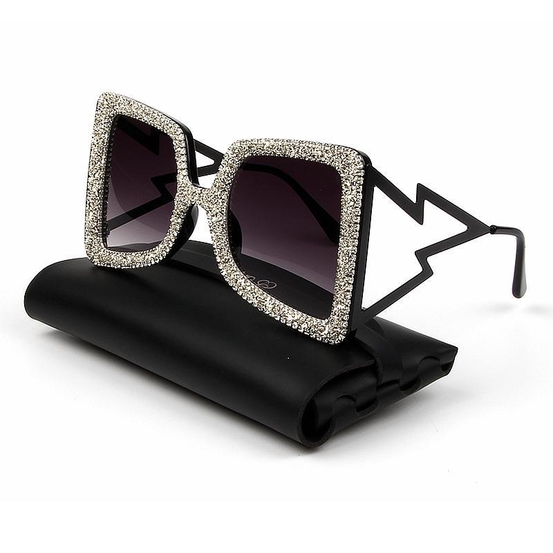 Oversize Sunglasses Women Big Wide Temple Bling Stones 2019 Fashion Shades UV400 Vintage Glasses Oculos