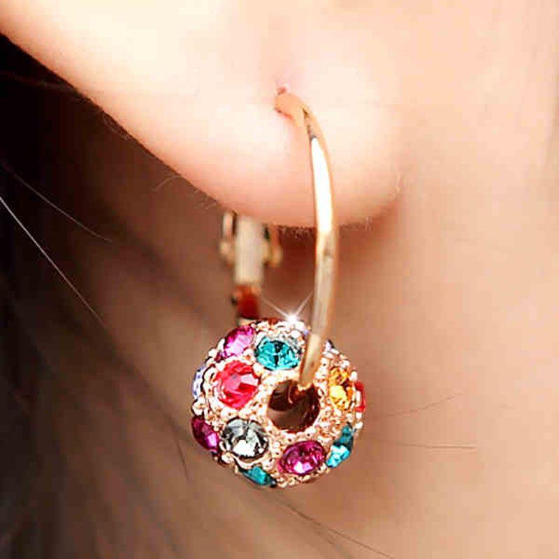 Stile coreano piccoli orecchini a cerchio di nuovo modo di fascino per nuziale Wedding Party made with Swarovski Elements cristallo in oro rosa Earing regalo
